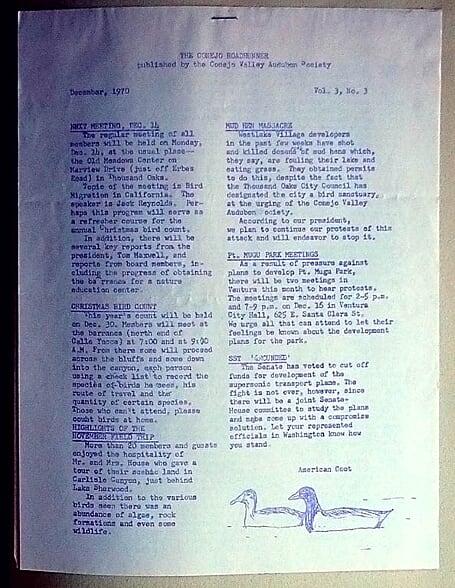 December 1970 Newsletter